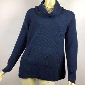 Eileen Fisher Navy Blue Waffle Knit Organic Cotton